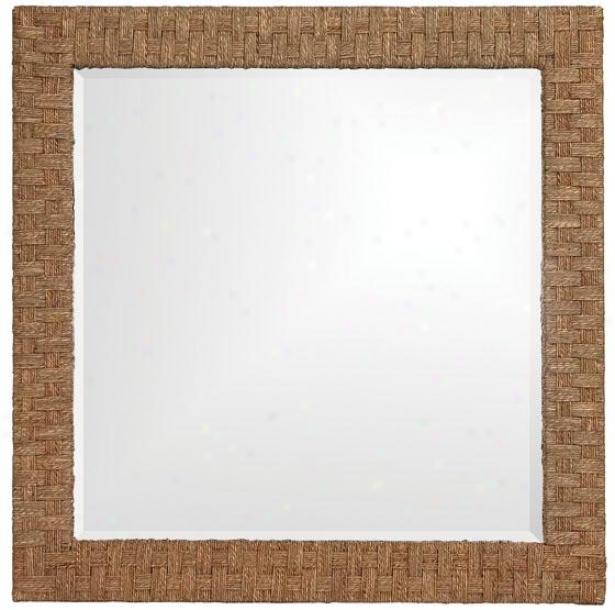 """""""sea Grass Sqaure Mirror - 35 """"""""squarex1""""""""d, Brown"""""""