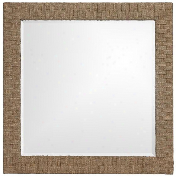 Sea Grass Wall Mirror - 35hx35w, Brown