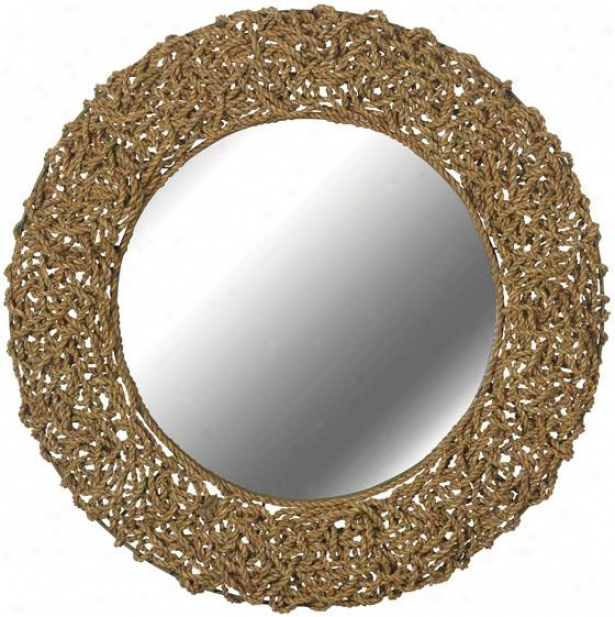 """seagrass Wall Mirror - 32"""" Round, Natural Seagrass"""