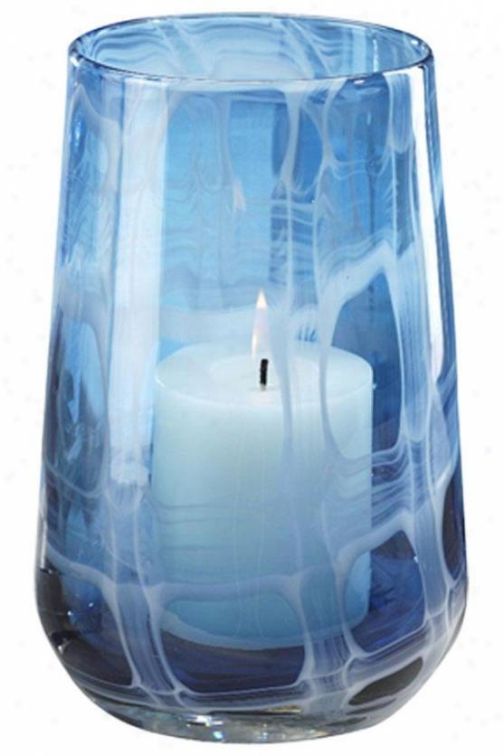 Seaside Blue Glass Hurricane - Tall: 10h X 7rd, Blue