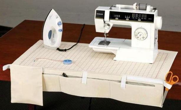 """sewing Center - 16""""hx32""""w, Ivory"""