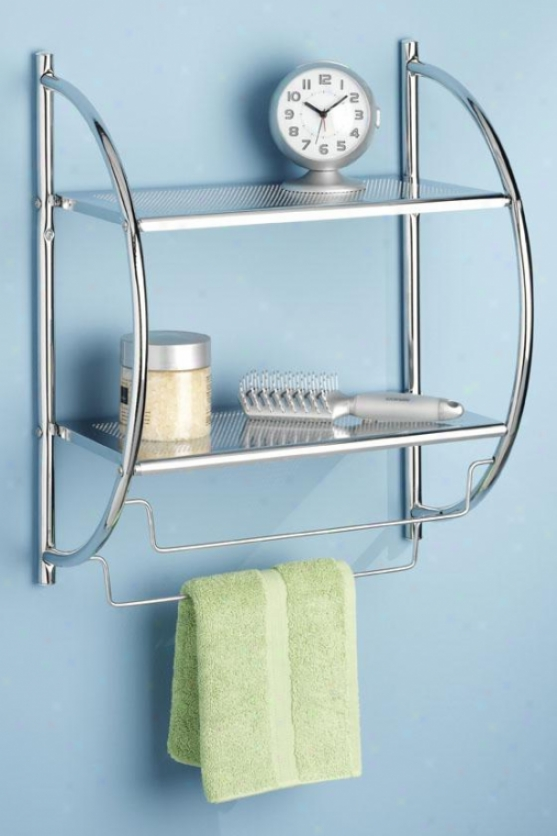 """shelves And Towel Rack - 22""""hx18""""wx10""""d, Silver Chrome"""