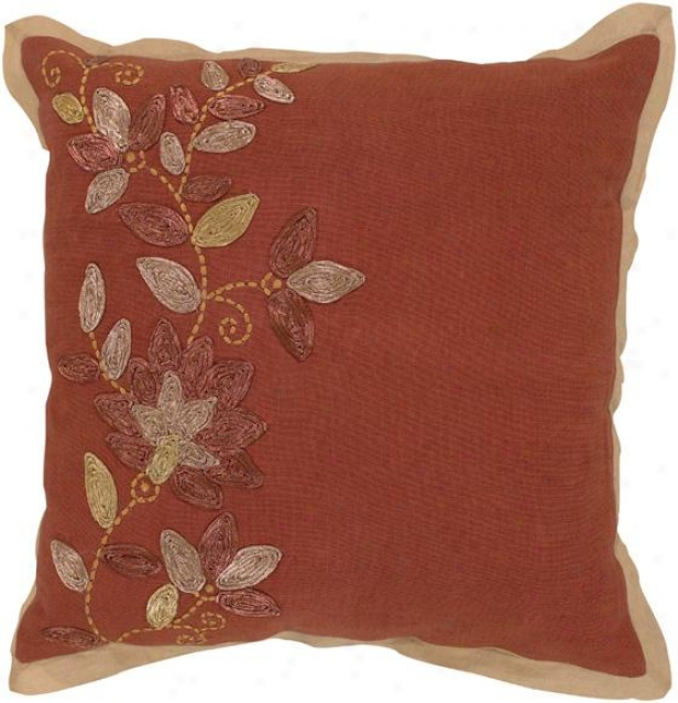 Shirley Decorative Pillow - 18hx18w Down, Red