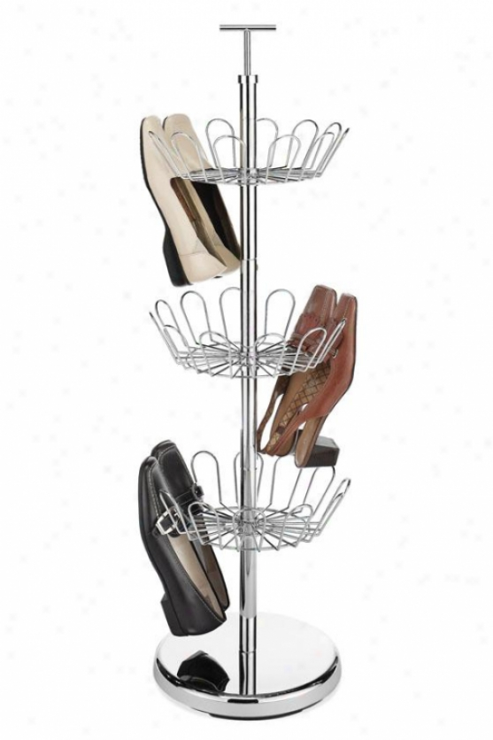 """""""shoe Spinner - 38""""""""hx12""""""""wx12""""""""d, Silver Chrome"""""""