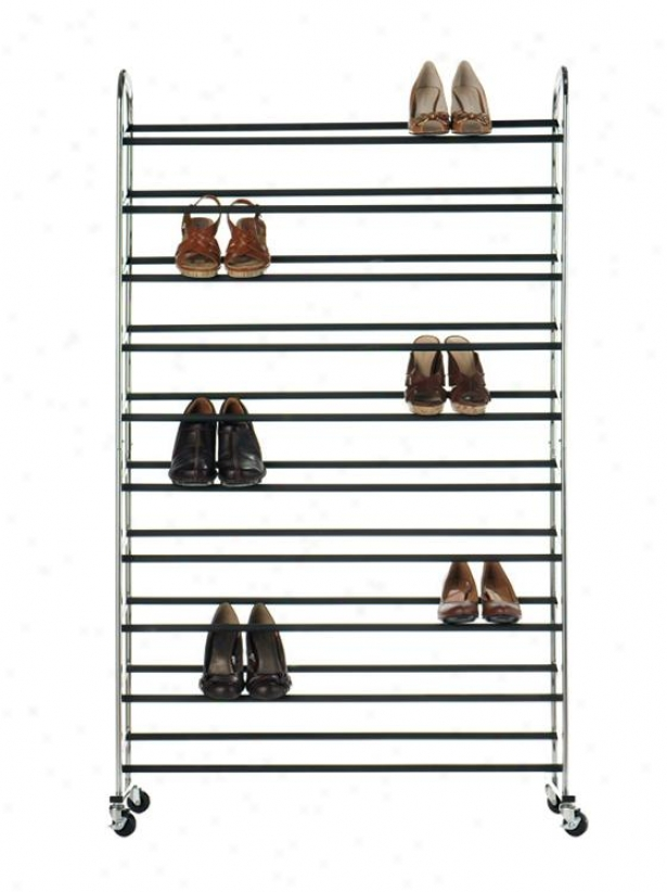"""shoe Tower - 50pr 60""""hx36""""w, Silver Chrome"""