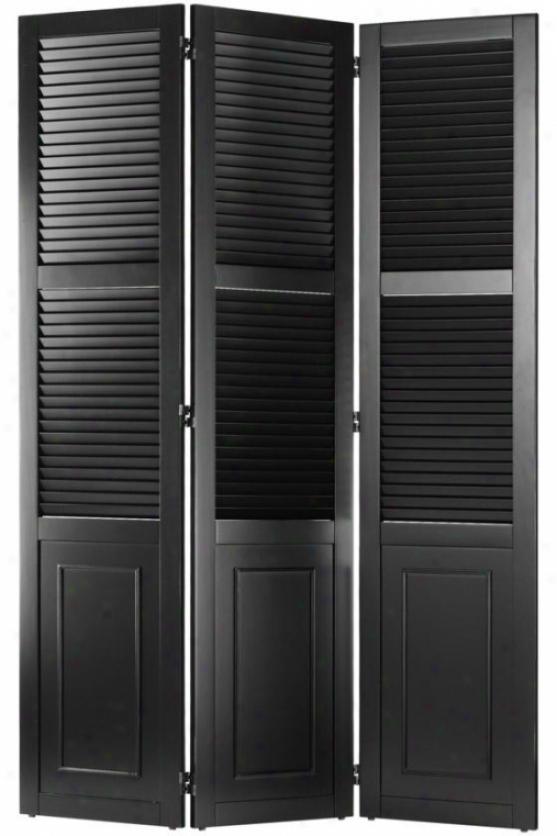 """shutter Room Divider - 68h X 48w X 1""""d, Worn Black"""