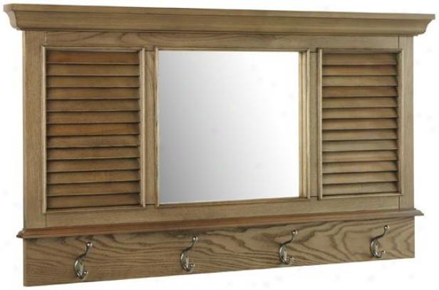 """shutter Wall Mirror With Hooks - 24h X 43w X 2""""d, Brown Oak"""