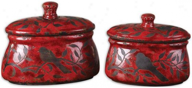 Siana Boxes - Set Of 2 - Set Of Two, Red