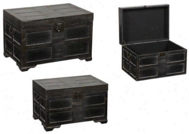 Sidony Trunks - Set Of 3 - Decline Of 3, Antiqued Black
