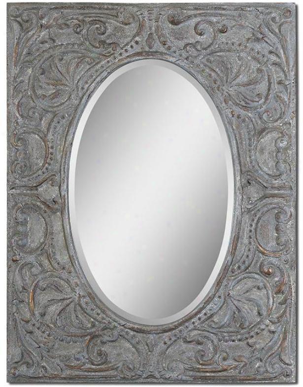 Silanus Wall Mirror - 44hx34w, Gray