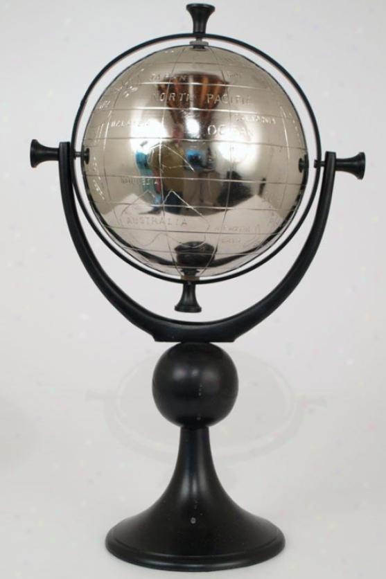 """silver Globe With Stand - 19h X 8""""round, Slate Grey"""