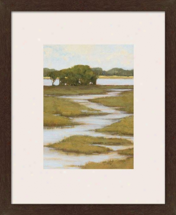 Silver Stream I Framed Wall Art - I, Matted Espresso