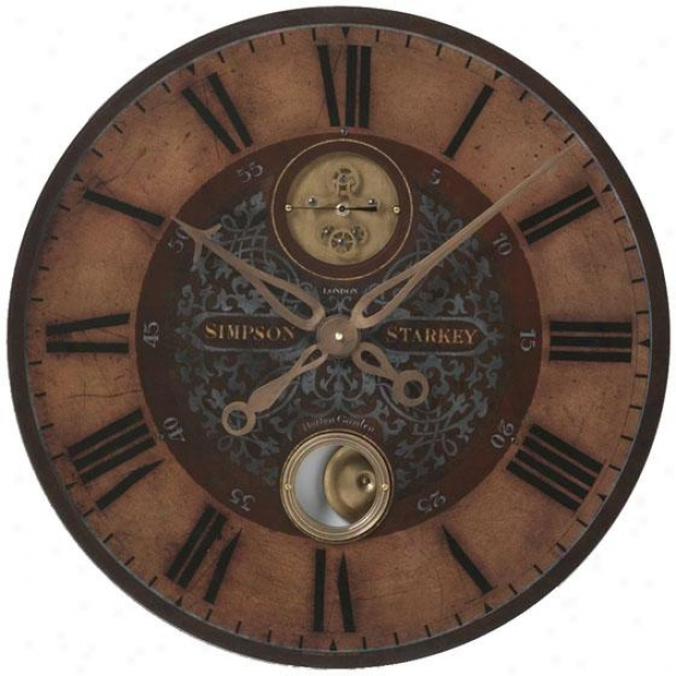 """simpson Starkey Wall Clock - 23 X 23 X 2.75"""", Weathered Assurance"""