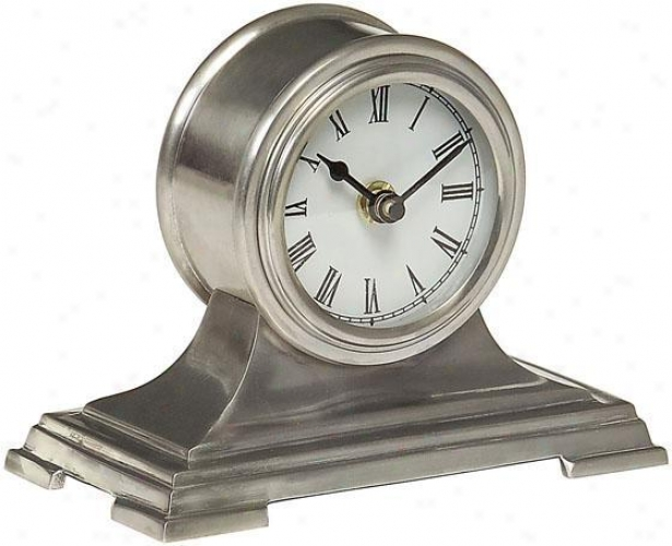 """small Silver Desk Clock - 5""""hx6.5""""w, Gray"""