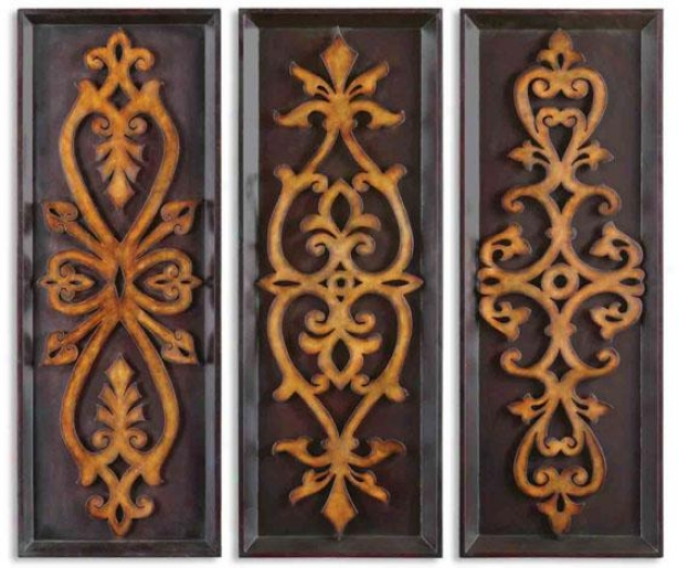 Sofia Plaque - Set Of 3 - Set/3 40x15 Eac,B lack