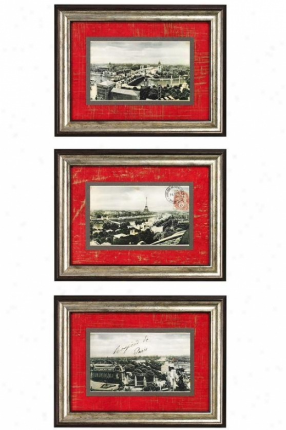 """souvenir De Paris Framed Wall Art - Set Of 3 - 16""""hx21""""w, Red"""