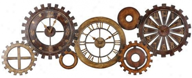 """spare Parts Clock - 21""""hx54""""w, Dark Chestnut"""