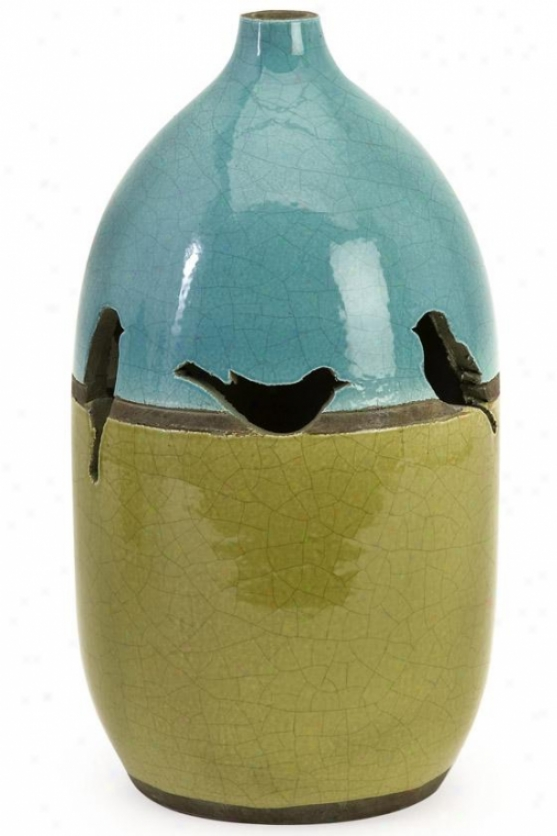 Sparrow Vase - 11.75hx6.5d, Green