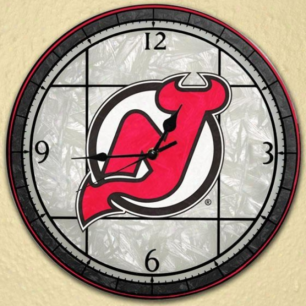 Sports Team Nhl Art Glass Clock - Nhl Teams, New Jersy Devls