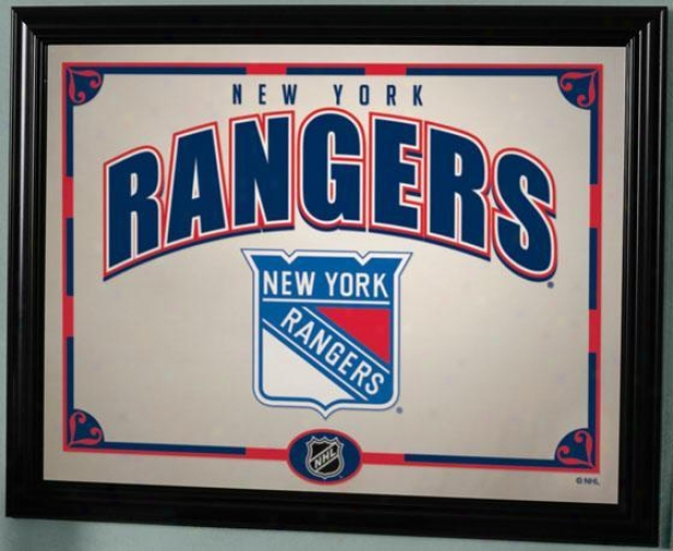 Sports Team Nhl Framed Mifror - Nhl Teams, Rangers