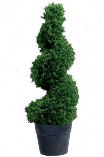 """springray Spi5al Topiary With Tin Ceramiic-like Base - 55""""h, Black"""