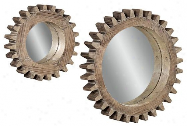 """sprockets Wall Mirrors - Set Of 2 - 16""""h, Dark Weathered"""