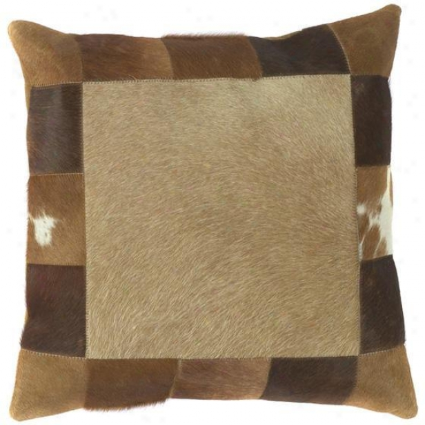 """square Bordered Pillows - Set Of 2 - 18""""x18"""" Brown"""