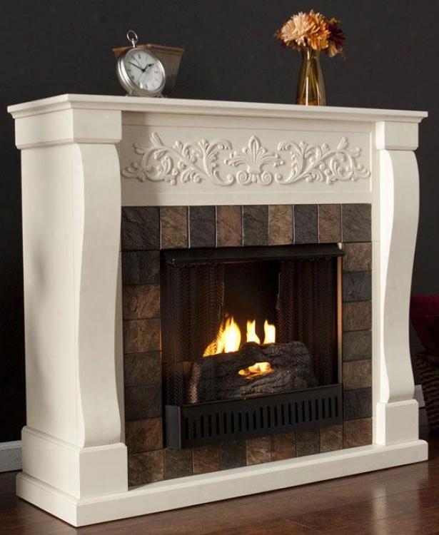 St. Lorenzo Fireplace - Gel Fireplace, Ivory