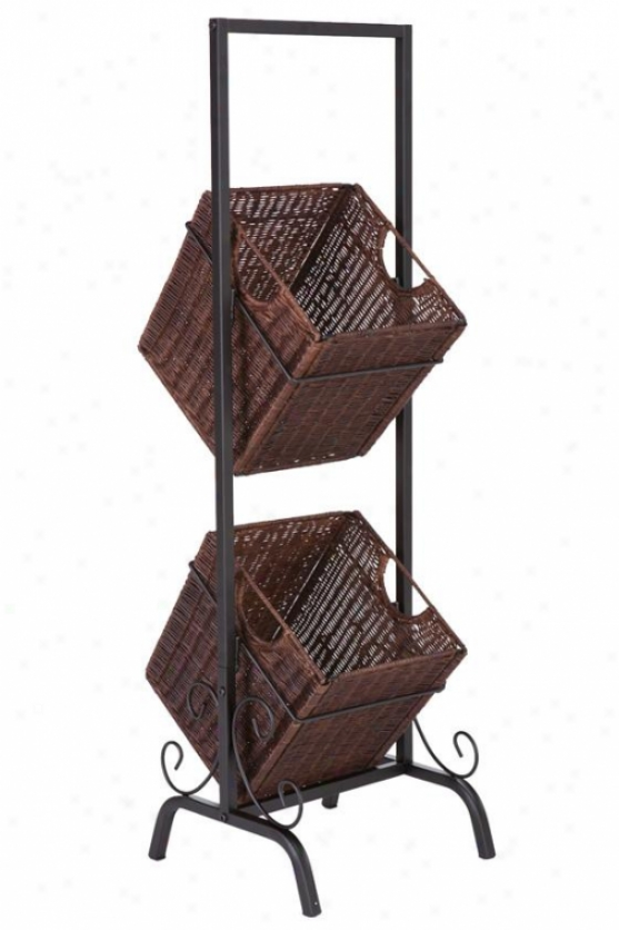 Standing 2-tier Basket Storage - 38h X 12w X 12d, Brown