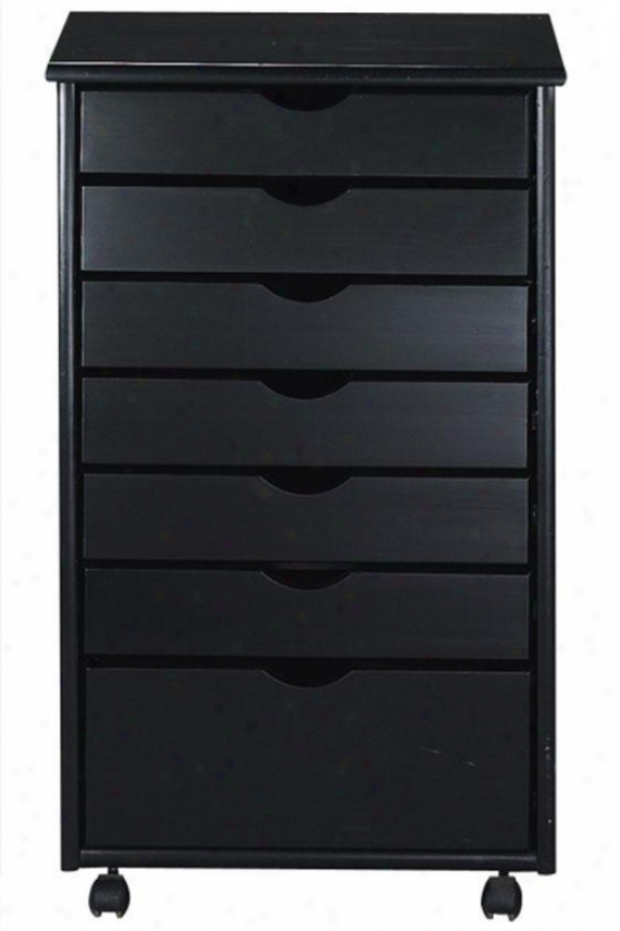 """stanton 6 + 1 Drawer Wide Storage Cart - 35.5""""hx20""""w, Black"""