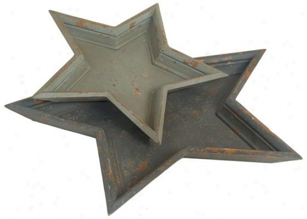 Star Trays - Set Of 2 - Set Of Two, Distressed Grey