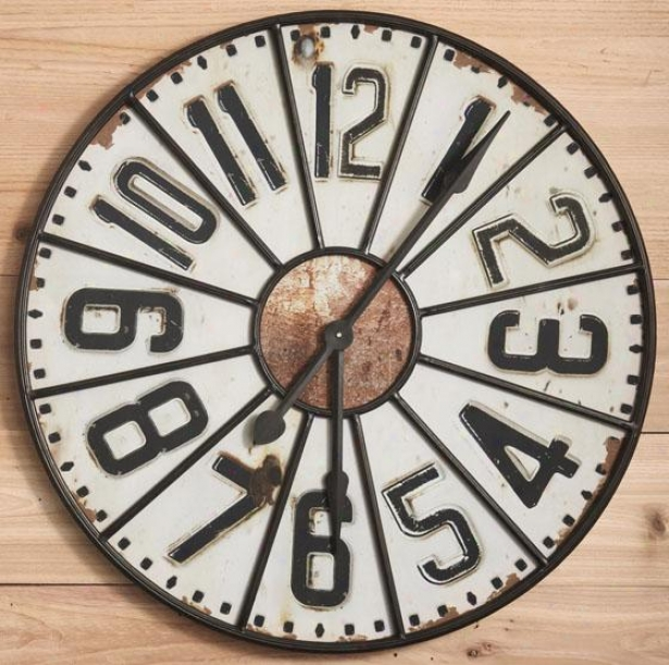 """station Wall Clock - 29.5""""round, Ivory"""