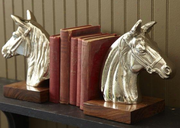 Steeplechase Bookends - Set Of 2 - Set Of Two, Silver