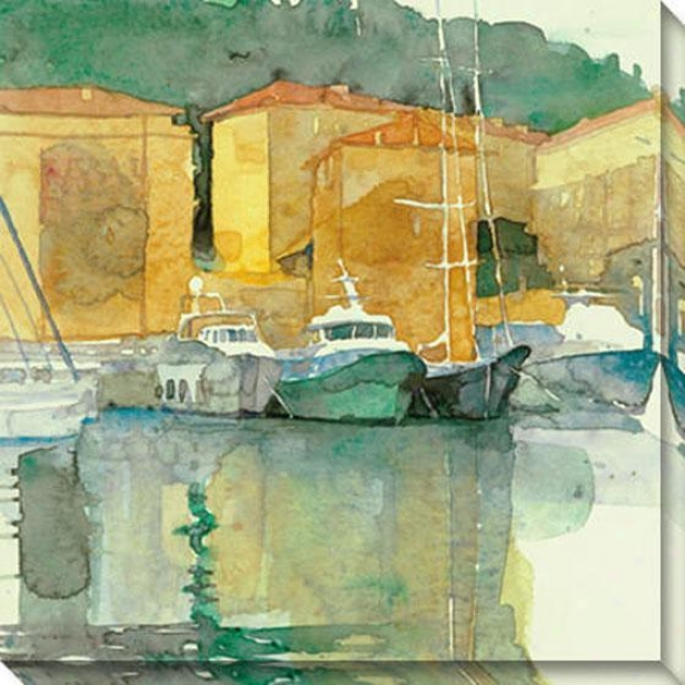 """still Harbor Canvas Wall Art - 40""""hx40""""w, Green"""