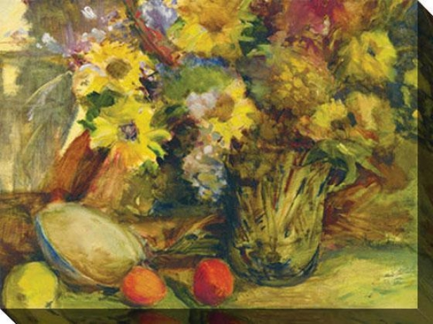 """still Life With Fruit And Daisies Canvas Wall Art - 48""""hx36""""w, Yellow"""