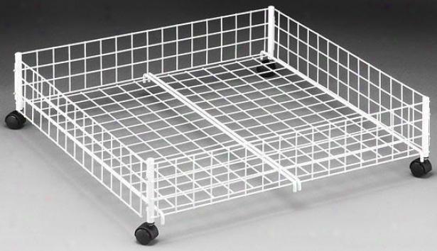"""""""storage White Wire Underbed Cart - 6.5""""""""hx24""""""""w, White"""""""