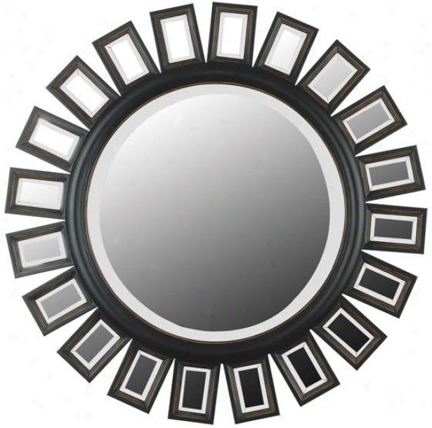 """""""straus Wall Mirror - 34"""""""" Round, Coffee Brown"""""""