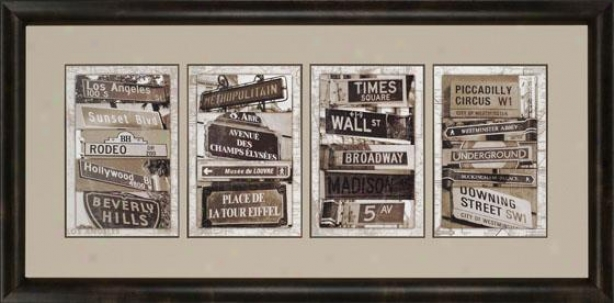 """street Signs Framed Wall Art - 32w X 65h X 2""""d, Brown"""