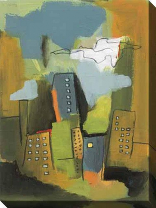 Summertime Skyscrapers I Canvas Wall Art - I, Green