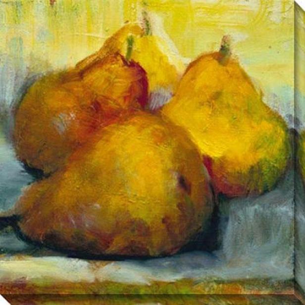"""""""sun Bathhing Pears Canvas Wall Art - 40""""""""hx40""""""""w, Gold"""""""
