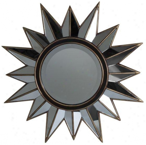 """sunburst Mirror - 28"""" Diameter, Brown"""