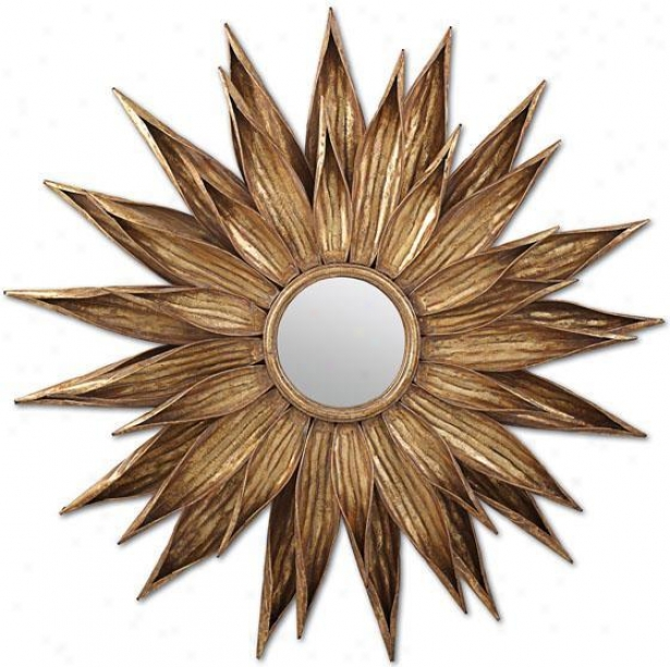Sunflwer Antiqued Gold Wall Mirror