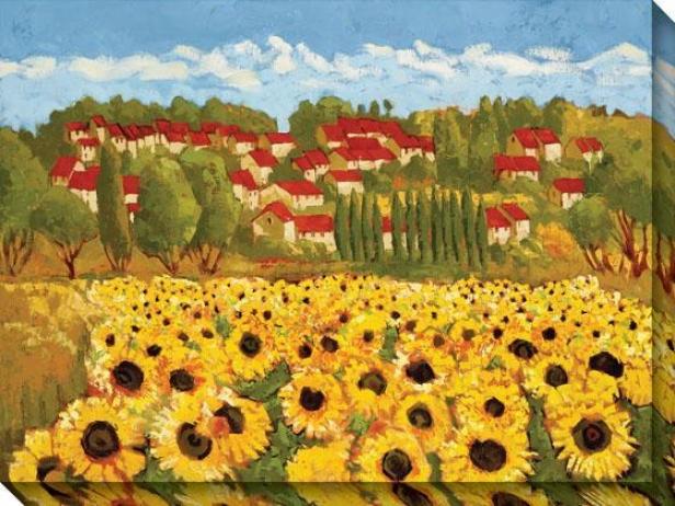 Sunflower Field Ii Canvas Wall Art - Ii, Yellow