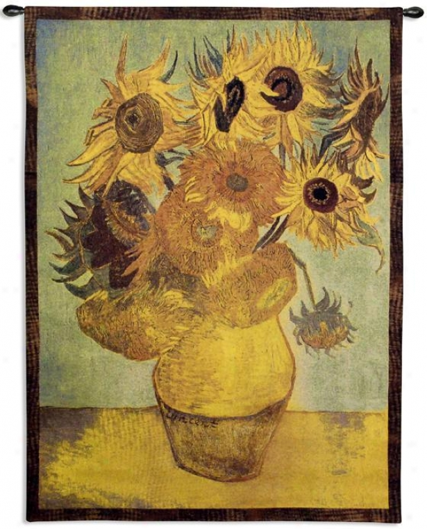 """sunflowers Tapestry - 53""""hx38""""w, Multi"""