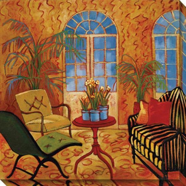 """sunroom With Narcissus Canvas Wall Art - 40""""hx40""""w, Orange"""