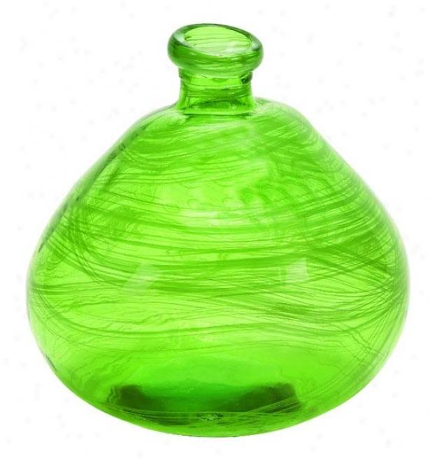 """swirl Vase - 13""""hx12""""w, Green"""