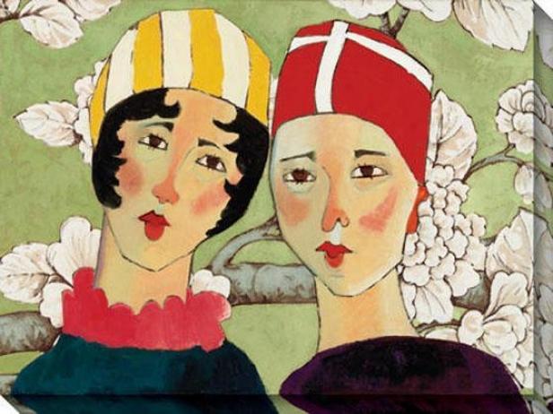 """synchronized Sisters Canvas Wall Art - 48""""hx36""""w, Green"""