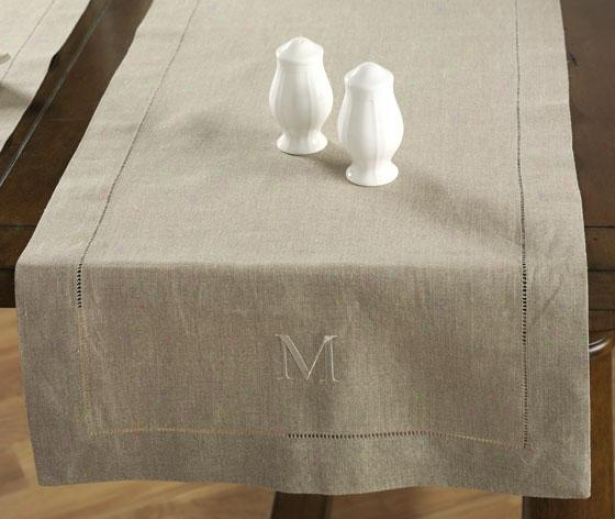 Table Runner - F Monogram, Ivory