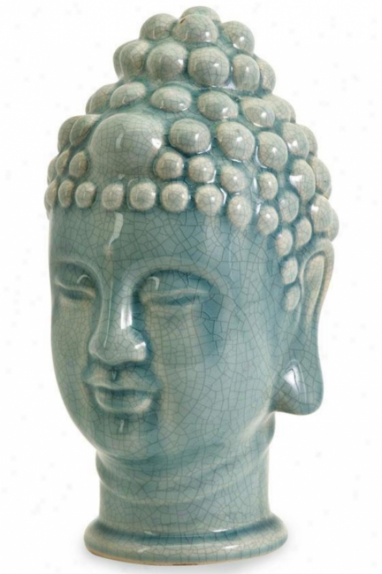 """taibei Ceramic Buddha Seat of the brain - 11.5""""hx7.25""""w, Blie"""