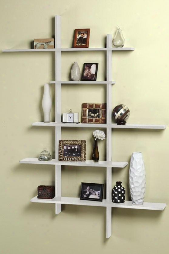 Tall Contemporary Display Shelf - Tall, White